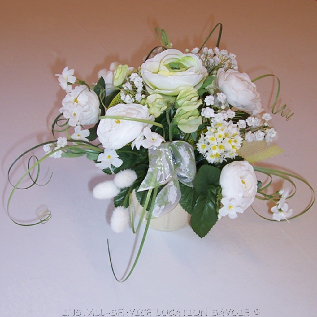 centre de table bouquet blanc