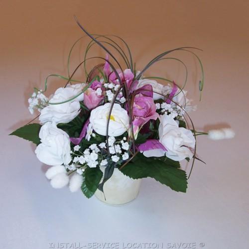 Centre de table bouquet mauve