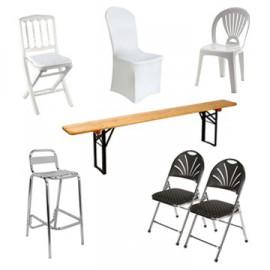 Chaises, banc et tabouret